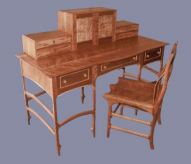 Curly Cherry Writing Desk and Chair